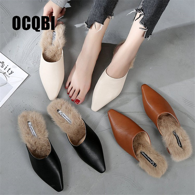 f93551ad872a Sexy Pointed Toe Mules Shoes Women Faux Fur Slippers Winter Plush Warm Fluffy  Furry Slides Cozy Low Heels Flip Flops Loafers