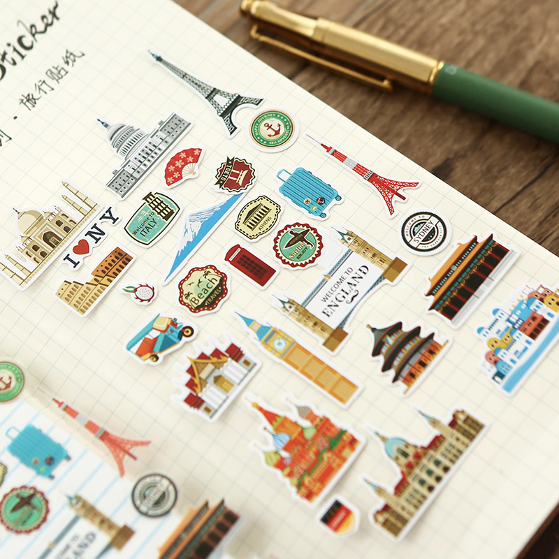 2 Sheets Travel Food Washi Stickers Scrapbooking Stick Label Diary Stationery Album Stickers Labels School Office Supplies