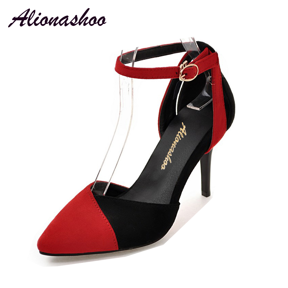 Alionashoo Brand Women Pumps High Heels Shoes Retro Velvet Thin Heels Pumps Spring Ankle Strap Pointed Toe Party Shoes Big Sizes