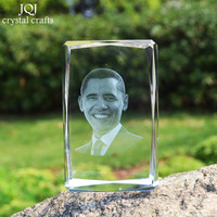 Quartz Crystal Glass Cube Crafts Miniatures 3D Laser Engraved Famous Leader Home Decoration Gifts Souvenirs Office