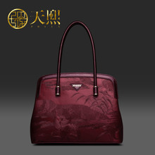 Pmsix 2017 Chinese Style Designer Brand Women PU Bags Luxury Women's Flower Print Handbag Cowskin black/red  240004