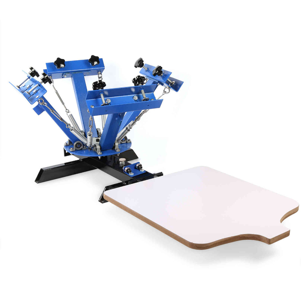 Screen Printing Machine 4 Color 1 Station Silk Screen Printing Machine Adjustable Double Spring Devices