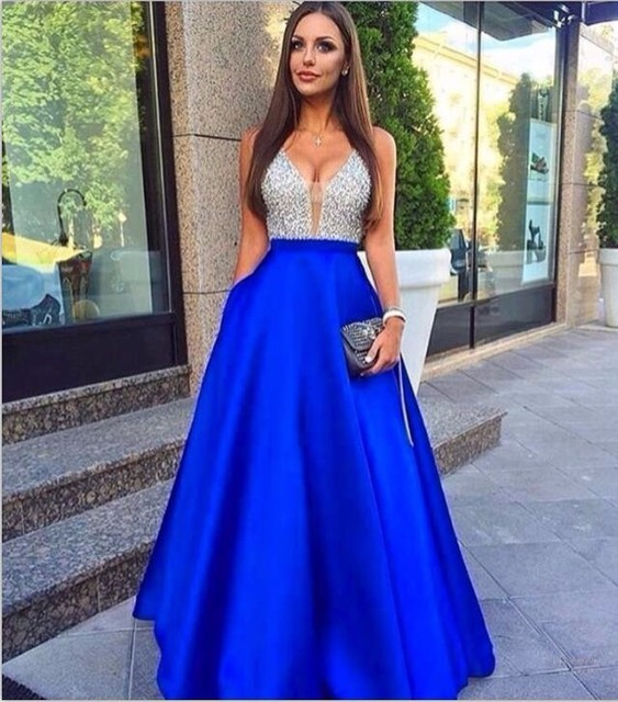Robes de soiree longues bleu
