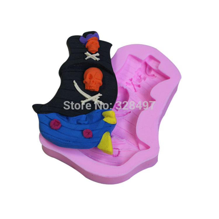 ₩Un barco Pirata 3D pastel de silicona, molde de la Magdalena, para ...
