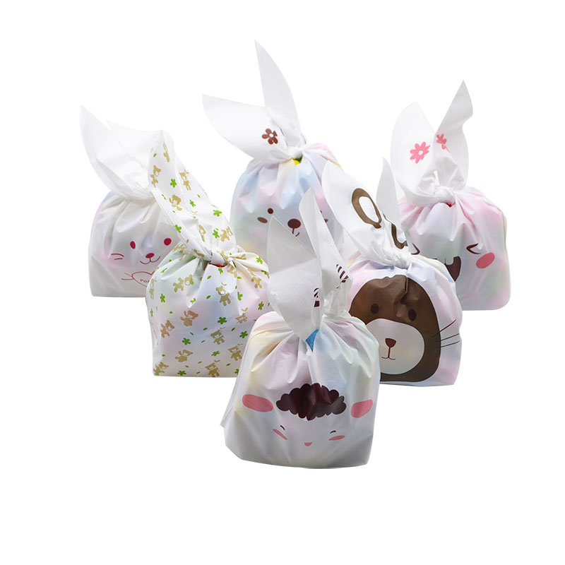25pcs Bunny Cookies Bags Candy Biscuit Packaging Bag Birthday Wedding Favors Candy Gift Bags Easter Party Decoration Supplies