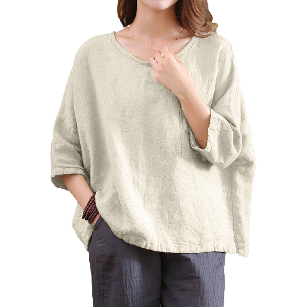 d958e1333 2018 Vintage Casual Loose O Neck Blouse Shirts Linen 3 4 Sleeve Women s  Plus Size Tunic Tops Female Tee Shirts Camisas Mujer