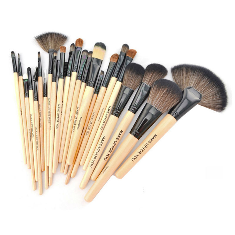 Professional 24 Pcs Brand Makeup Brushes Make Up Tool Brushes Set Black+Pink+Wood Color Foundation Powder Brush Kit With Bag 2017 cosmetic pink makeup brush professional makeup kit brush set foundation brush power puff sponge makeup brushes set tool
