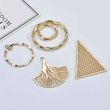 DIY ear jewelry accessories alloy simple geometric hollowed leaf triangle circle earring material Pendant 6 pieces(China)