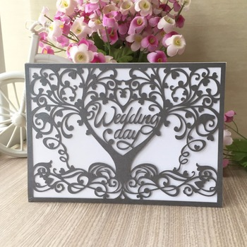 35pcs Laser Cut Chic Design wedding Love Tree Decoration Party Invitation card Blessing Greeting wedding invitations cards