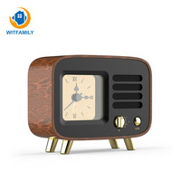 Wooden Alarm Clock Retro Style Wireless Bluetooth Speaker Support TF Card AUX Radio Play Office Home Decoration Alarm Clock