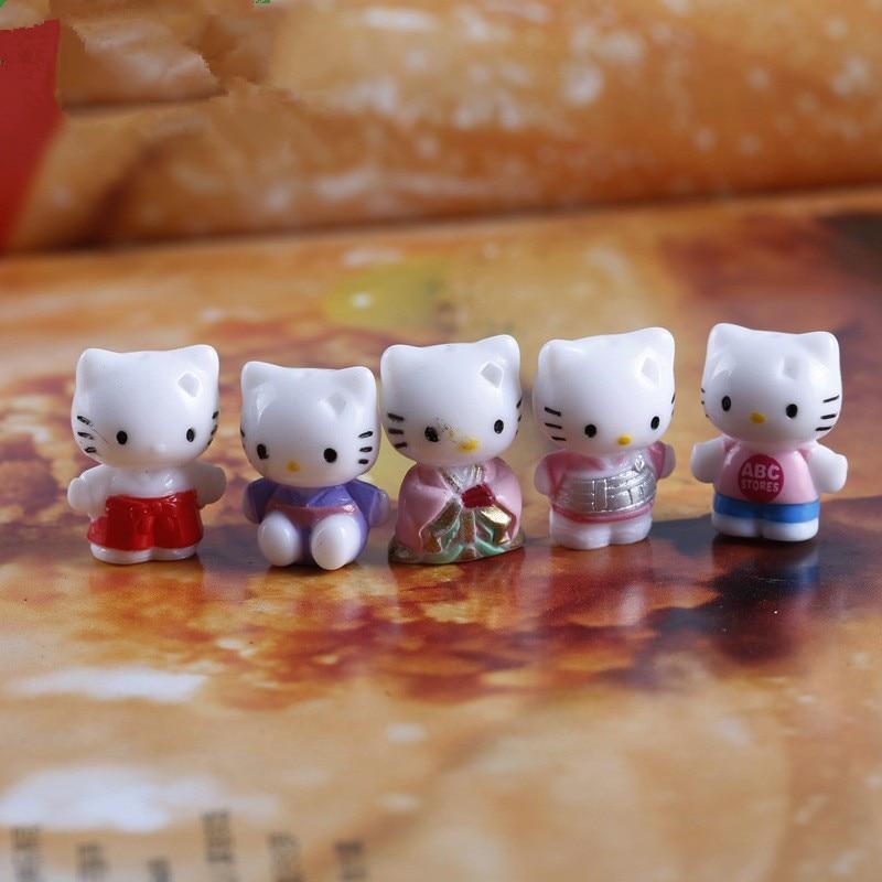 Free Shipping 20mm 1PC Hello Kitty Cat Mini Toys Cute Cartoon Figure Micro Landscape Decorations