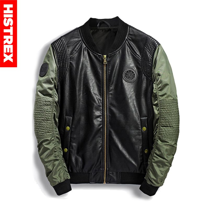614d7d524 US $29.4 50% OFF|HISTREX Pilot Military Bomber Men Jacket Autumn Winter  Leather Denim Camouflage Army Jackets For Men's Coat Streetwear #HJC5W-in  ...