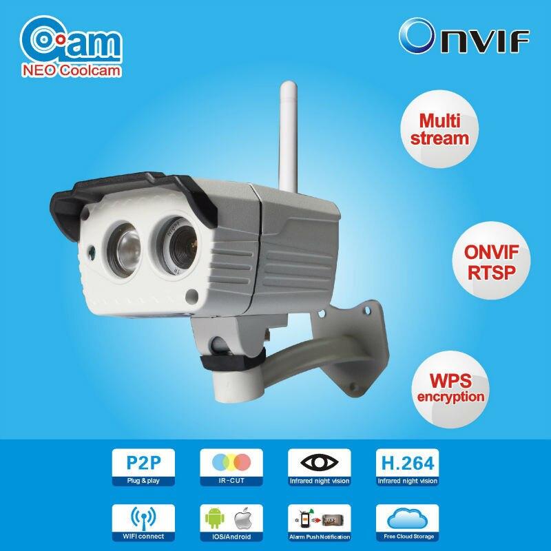 Neo Coolcam NIP-036L2J Onvif2.0 HD 720P Waterproof Outdoor Wifi IP Cam Wireless P2P And WPS Dual Video Scream Push Notification