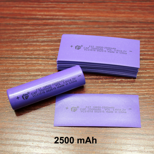 100pcs/lot 18650 lithium battery package PVC heat shrinkable film battery skin 2500MAH capacity standard aircraft special