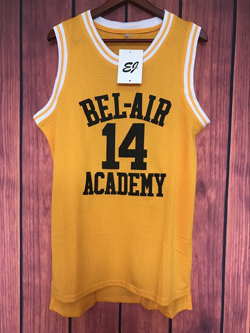 Prix pour EJ Will Smith #14 Le Prince De Bel-Air de Basket-Ball Jersey Cousu Jaune