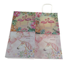 Flamingo Paper Gift Bag Unicorn Candy Bar Packing Pouches With Handle for Baby Shower Birthday Christmas Party Supplies