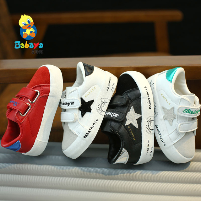 2016 brand Autumn low hook loop microfiber leather flock star patchwork child toddle sneakers boy girl first walkers baby shoes