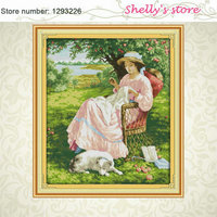The Woman Under An Apple Tree Counted Or Stamped Cross Stitch 11CT 14CT DMC Cross Stitch