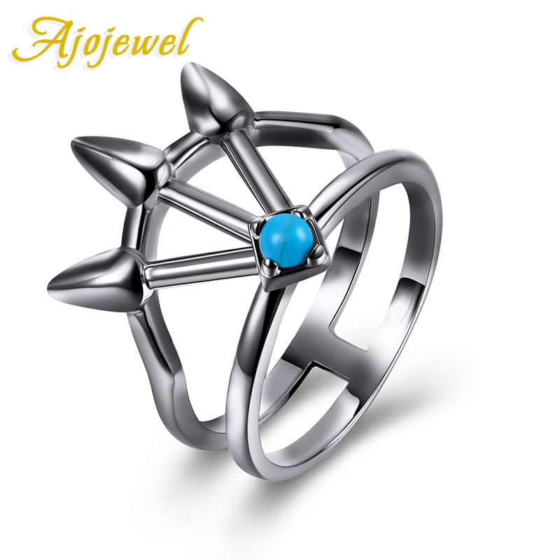 Ajojewel 2017 New Unique Vintage Antique Style Female Ring Finger Jewelry Ring With Blue Stone