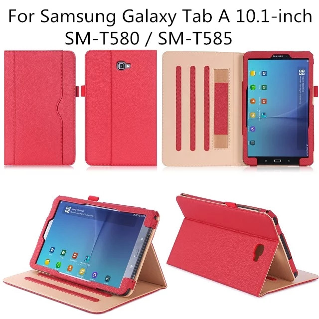 Stand Folio Case Cover for Samsung Galaxy Tab A 10.1 Inch Tablet SM-T580, with Multiple Viewing Angles, Document Card Pocket luxury flip stand case for samsung galaxy tab 3 10 1 p5200 p5210 p5220 tablet 10 1 inch pu leather protective cover for tab3