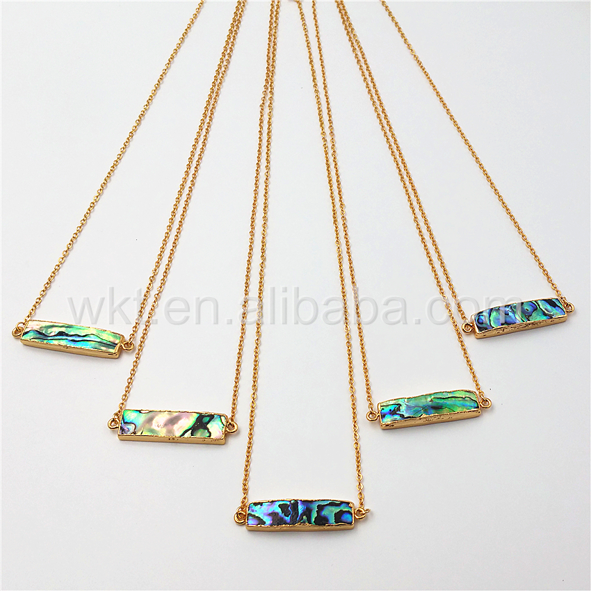 WT N813 Wholesale Natural high quality abalone shell double loops necklace 24k gold long bar abalone