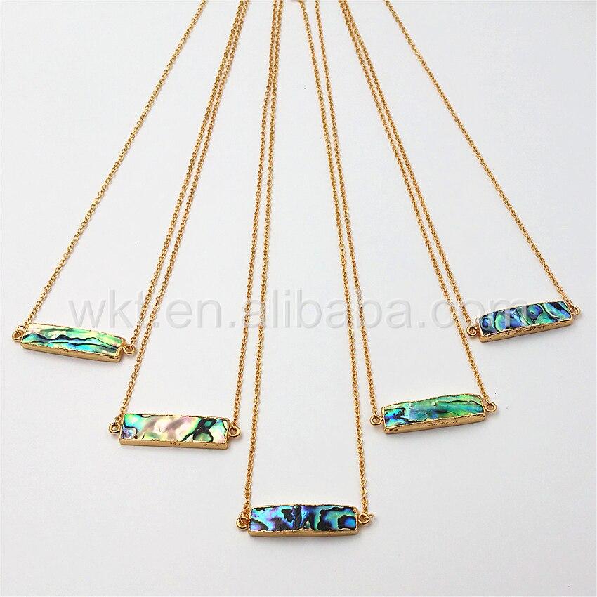 WT N813 en gros naturel de haute qualité abalone shell double boucles collier, 24 k or long bar abalone rectangle collier-in Pendentifs from Bijoux et Accessoires    1