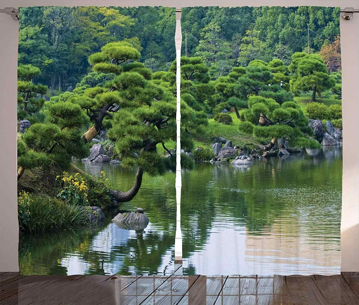 Japanese Decor Curtains River Landscape with Trees Flowers Stones Silence in Asian Natural Beauty Garden Theme Photo Living Room