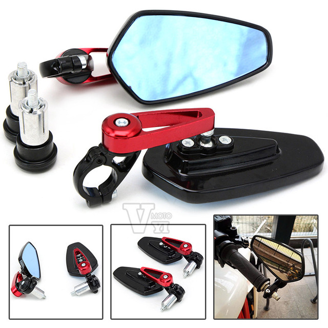 """Universal Motorcycl 7/8""""HandleBar End Foldable motorbike Rear View Side Mirrors for HONDA XR250 XR400 XR600 TLR200 XL100 New"""