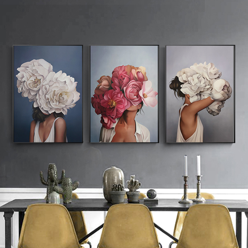 Nordic Style Beauty Flower Girl Canvas Painting Postmodern ...