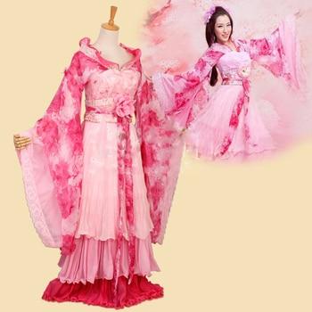 2 Colors Tong Yan Peach Blossom Print Chiffon Tang Princess Hanfu Costume Classical Dance for Women Stage Performance