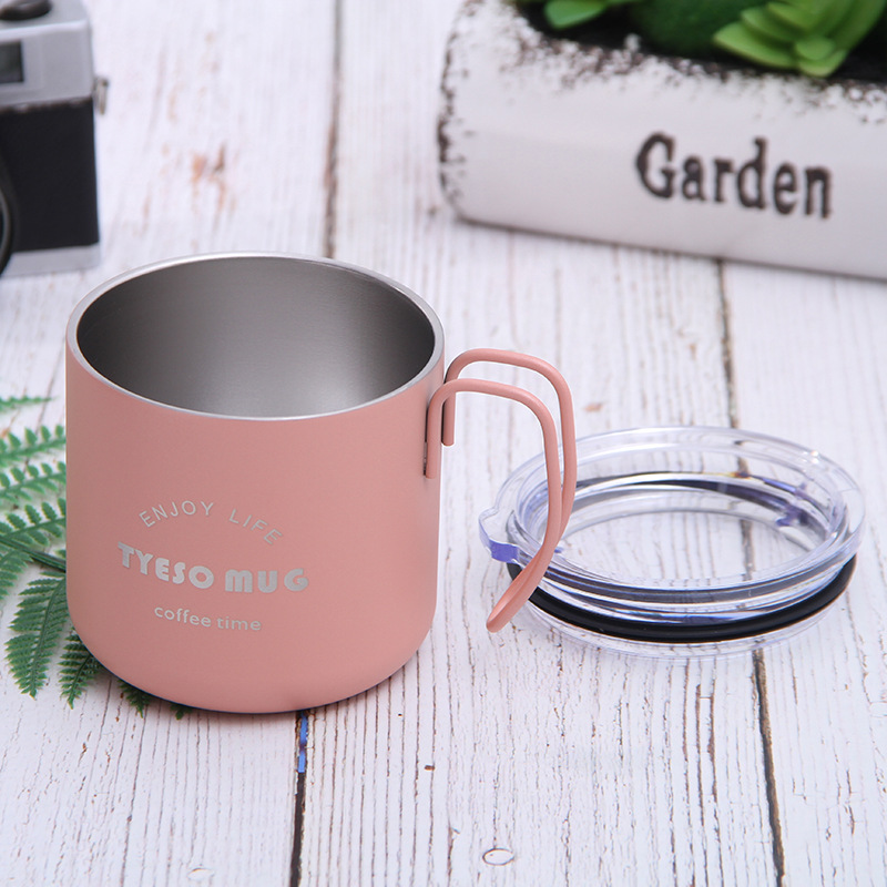 Stainless steel vacuum coffee cup with lid vacuum insulation cup color with handle office cup simple style coffee mug