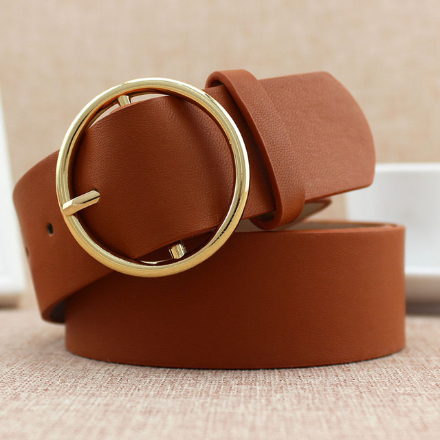 Fashion Classic round buckle Ladies wide belt Women's 2018 design high quality  female casual leather belts for jeans kemer F110 5