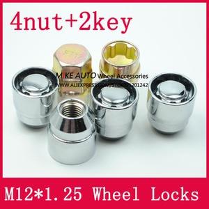 Image 4 - 4 אגוזים + 2 מפתחות M12x1.25 1.25 גלגל אגוזי נעל מנעולי אבטחה נגד גניבת אגוז Fit עבור ניסן Teana Bulebird sylphy הקאשקאי LS010 06