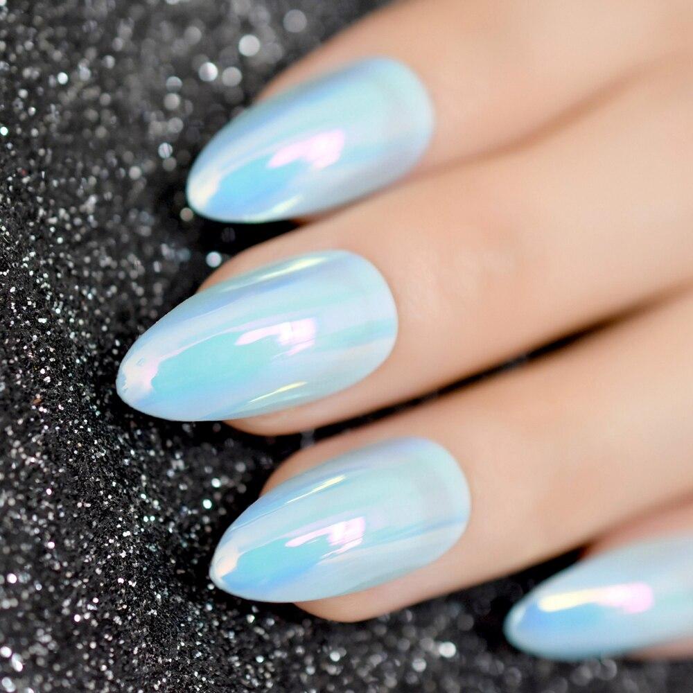 Good Buy Magic Chrome Holo Blue Green Oval Fake Stiletto Nails Tips ...