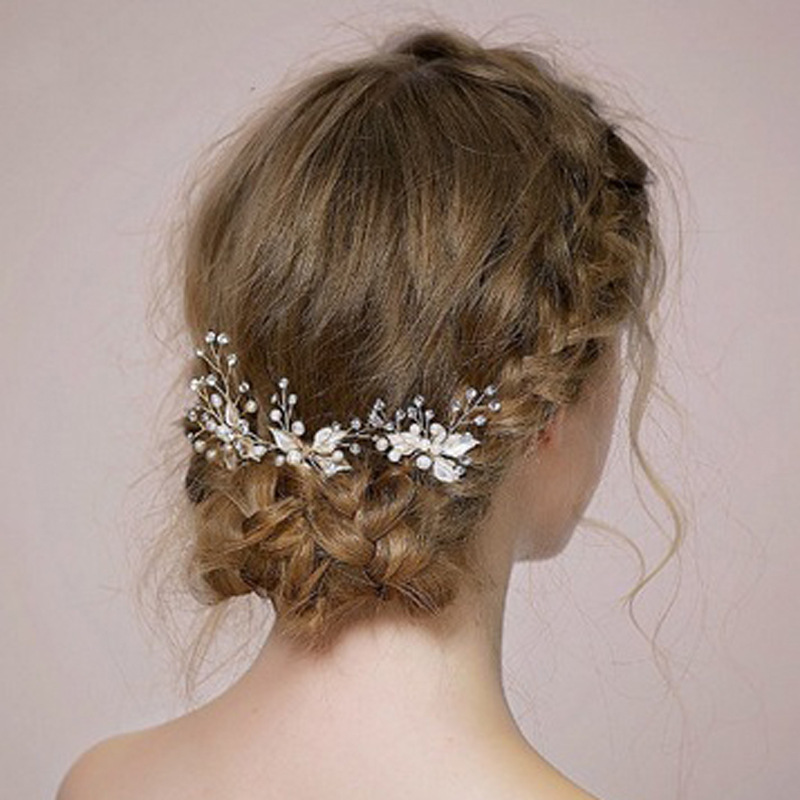 Wedding-Hair-Pins Hair-Accessories Pearl-Leaf Crystal Bride White Women Newest for Ivory