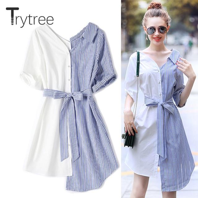 b09a60bba Trytree Spring Summer Cotton Dress Women Casual Pinstripe 2018 shirt Half  Sleeve Pink white A-