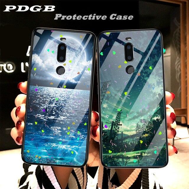 PDGB Rugged TPU Case for Meizu Note 8 X8 M8 Lite V8 Pro Case 16 16X 16th Plus Love Painted Cover Glitter Epoxy Shell Coque Funda