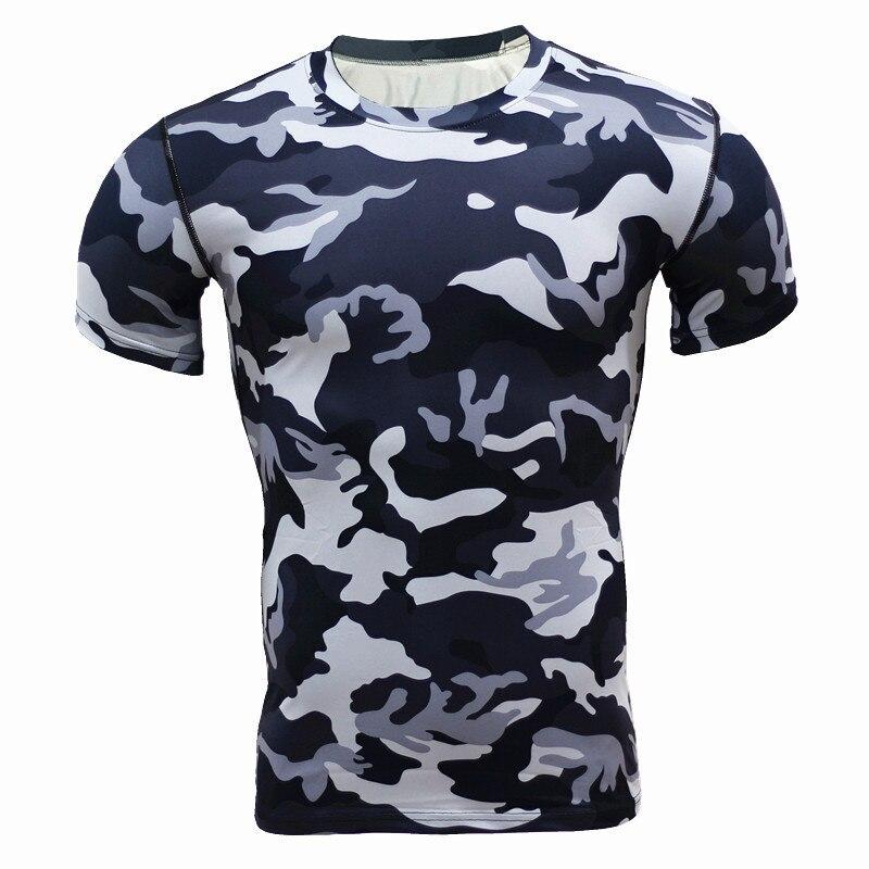 New Arrival 2018 Camouflage Army Men T 셔츠 피트니스 타이츠 빠른 건조 크로스 피팅 운동 압축 셔츠 신축성 셔츠 남성용