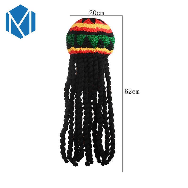 Miya Mona Jamaican Dreadlocks Reggae Hat Rasta Bob Marley Beanie Hats Hip Hop Braids Gorro Winter Warm Slouchy Knitted Cap
