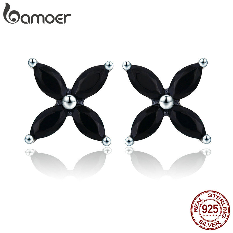 BAMOER 100% Authentic 925 Sterling Silver Small Clover Flower Black CZ Stud Earrings for Women Sterling Silver Jewelry SCE362