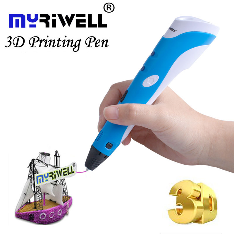 Myriwell 3D Pen DIY 3D Printer Pen Drawing 3d Printing Pens with ABS Filament 1.75mm for Kids Christmas Birthday gift perfect chrismas gift 3d pen for drawing led display diy 3d printer pen creating and safe voltage for kids high quality