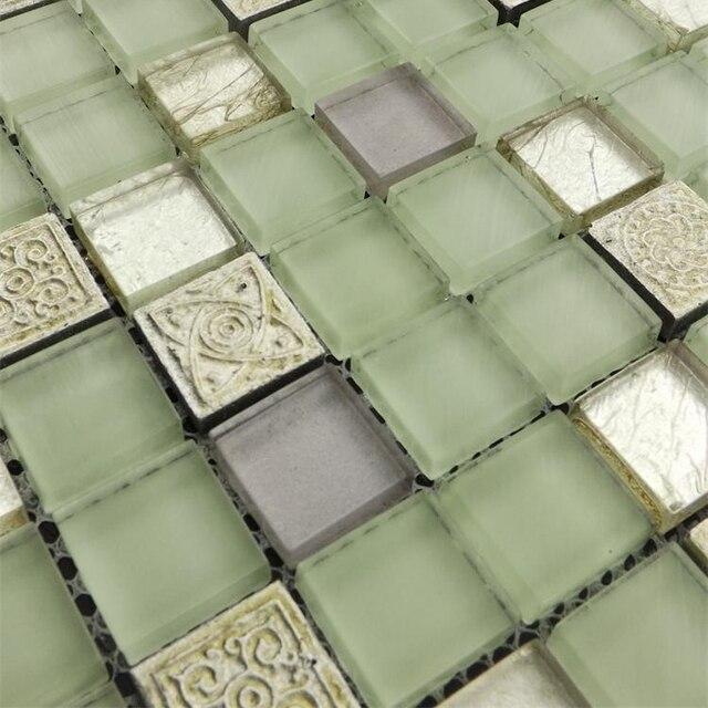 GroBartig Hellgrüne Farbe Glas Gemischt Steinmosaik Fliesen Für Küche Backsplash  Fliesen Badezimmer Dusche Kamin Esszimmer Wand Mosaik