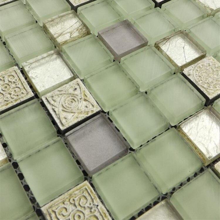 Home Improvement Light Green Glass Mosaic Tiles Glass Bathroom Shower Mosaic Tiles Kitchen Backsplash