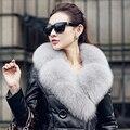 90 cm estilo de la moda real fox cuello de piel para las mujeres 16 colores sólidos señoras bufanda suave caliente del invierno del otoño femenino chales collares