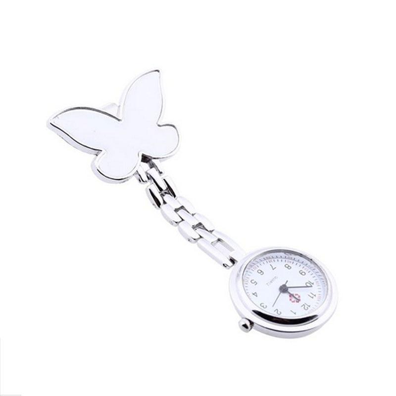 Fashion Butterfly Nurse Hanging Watch Women Clip-on Fob Brooch Pendant Hanging Pocket Watch Clock Relogio Feminino Drop Shipping