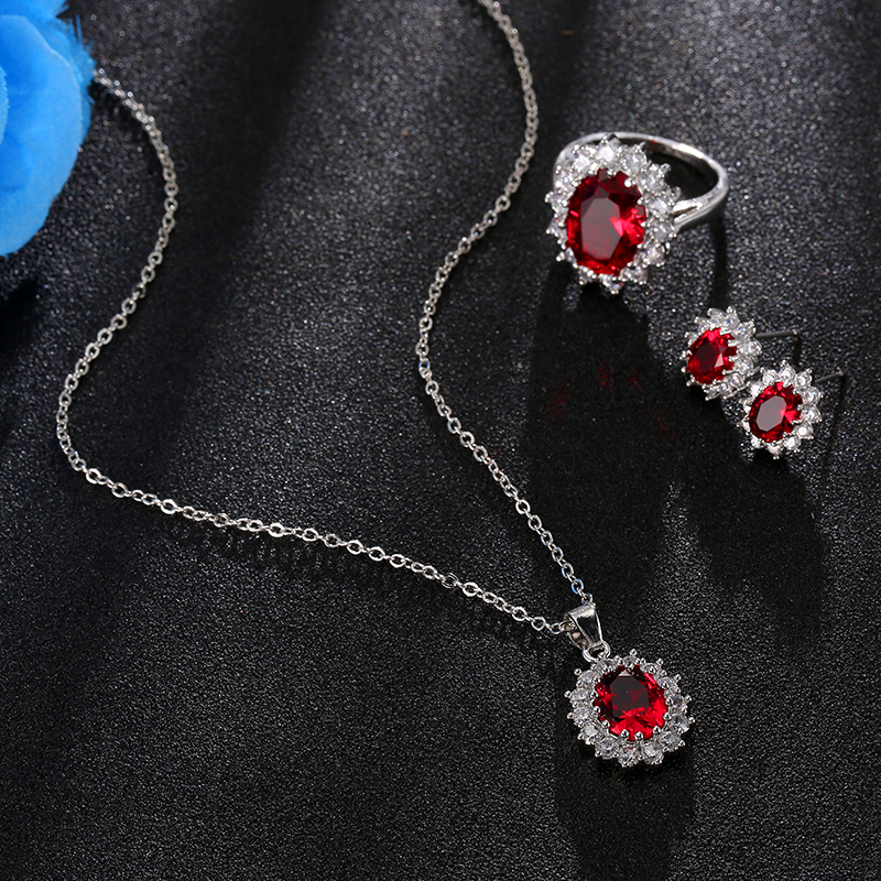 Fashion Blue Crystal Stone Wedding Jewelry Sets For Brides Silver Color Necklace Set For Women African
