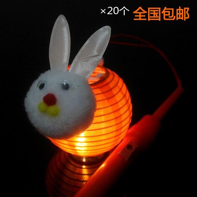 mid autumn lantern led bunny rabbit cartoon child hand silk lanterns
