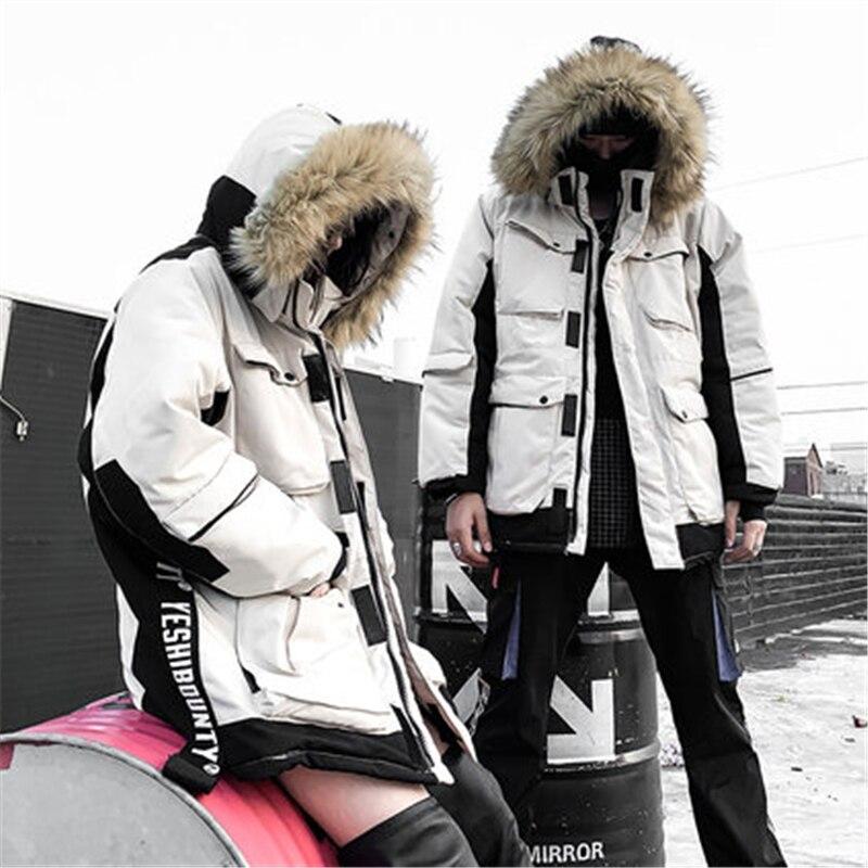 D'hiver Femmes white Capuchon Grand Col Et À Fourrure Lâche 2018 De Coton Manteau Hip New Mode H0320 Couple Long Hop Creamy Hommes U1twfq