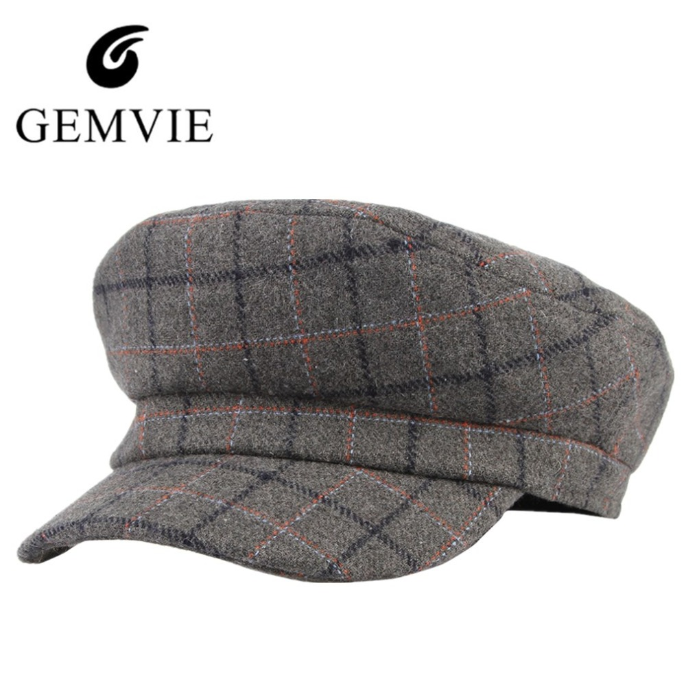 ff6f3316 2018 Fashion Unisex Big Square Plaid Berets Autumn Winter Keep Warm Wool  Blend Newsboy Hat Men Women Casual Peak Cap Sailor Hat-in Newsboy Caps from  Apparel ...