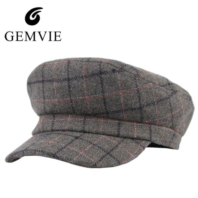 bc1c1316 2018 Fashion Unisex Big Square Plaid Berets Autumn Winter Keep Warm Wool  Blend Newsboy Hat Men